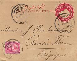 1894- Enveloppe E P 5 Millièmes + Compl. 5 Millièmes D'Alexandrie Pour La Belgique - Égypte