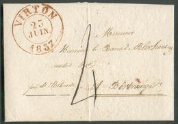 LAC De VIRTON (càd Rouge) Le 23 Juin 1837 Au Baron De Blochausen à Birtrange (man. 'près Ettelbruck), Port '4' Décimes - 1830-1849 (Independent Belgium)