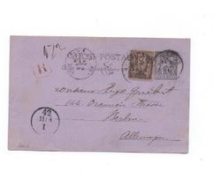 CP Au Type Sage (10c +25c Affranchie à 35c ) Recommandée De Paris à Berlin 1889 - Standard Postcards & Stamped On Demand (before 1995)