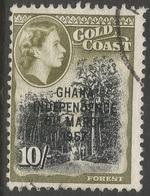 Ghana. 1957-58 Stamps Of Gold Coast O/P. 10/- Used. SG 181 - Ghana (1957-...)
