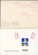 AMOUNT 0.35, BUCHAREST, ROMANIAN AUTO CLUB RED MACHINE STAMPS ON COVER, POSTCARD, INVITATION, 1968, ROMANIA - 1948-.... Républiques