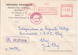 AMOUNT 1.55, BUCHAREST, MINISTRY OF FINANCE RED MACHINE STAMPS ON REGISTERED COVER, 1974, ROMANIA - 1948-.... Républiques