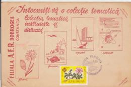 CONSTANTA PHILATELIC EXHIBITION, FLOWERS, FISH, TURTLE, SPECIAL POSTCARD, 1965, ROMANIA - 1948-.... Républiques