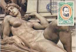 ART, SCULPTURE, MICHELANGELO- THE DAWN, CM, MAXICARD, CARTES MAXIMUM, OBLIT FDC, 1975, ROMANIA - Skulpturen