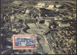 CARTOLINA - CV957 CITTA' DEL VATICANO 1951 Cartolina Maximum Con Veduta Piazza S. Pietro E Francobollo 6 L., Non Viaggia - Vatican