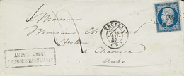1857- Enveloppe De TROYES ( Aube ) Cad T15 Affr. N°14 Oblit.  Pc 343   ( Manque Du 2 Final ) TAXE  4 D - Marcophilie (Lettres)