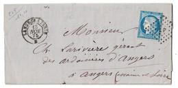 """1875 - OBLITERATION AMBULANT De JOUR """" LANGRES À PARIS """" Sur LETTRE LAC AFFRANCHIE CERES N° 60 Pour ANGERS - Marcophilie (Lettres)"""