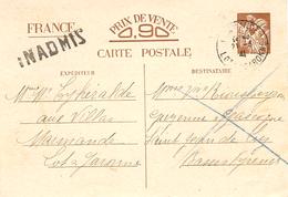 1941 - C P E P Iris  Sans Valeur De Marmande ( Lot Et Garonne à St Jean De Luz  - INADMIS - Marcophilie (Lettres)