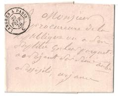 """29 FÉVRIER 1876 - OBLITERATION AMBULANT De JOUR """" LANGRES À PARIS """" Sur LETTRE NON AFFRANCHIE LST - Marcophilie (Lettres)"""