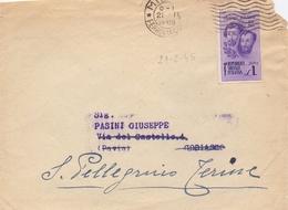 1945 Lettera Con  Fratelli Bandiera Da 1 Lira Da Milano Per S.Pellegrino Terme  024 - Marcofilía
