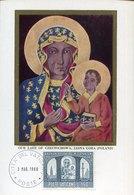 42700 Vaticano, Maximum 1966 Icon Of The Black  Madonna And Child Of Czestoshowa, Jasna Gora - Cartas Máxima