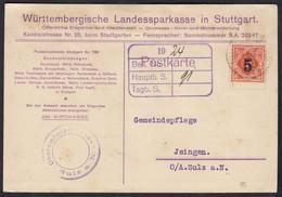Württemberg Sparkassen-Dienst-Postkarte 1925 Stuttgart N.Isingen  (17596 - Wuerttemberg