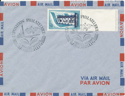 Luxembourg Air Mail Cover Exposition Philatelique Wasserbillig 22/23-1-1958 Single Frankled EUROPA CEPT 1956 Stamp - Poste Aérienne
