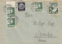 Germany Deutsches Reich WORMS 1939 Cover Brief MENZIHEN Schweiz Breslau 1938 & Winterhilfswerk Stamps - Allemagne