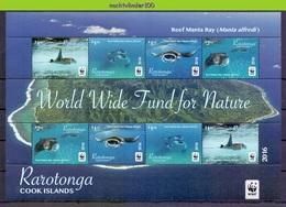 Nfa003MSb WWF FAUNA 'VISSEN FISH FISCHE' ROG REEF MANTA RAY MARINE LIFE RARATONGA 2016 PF/MNH - W.W.F.