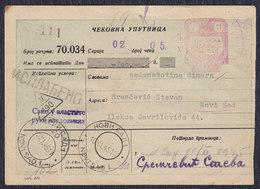 Yugoslavia 1945 Check Order Of Novi Sad Postal Office Savings Bank, Franked With Porto Stamp - 1945-1992 Socialist Federal Republic Of Yugoslavia