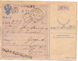 1922 Vaglia Postale Da Palma Montechiaro Per Grgenti  024 - 1900-44 Vittorio Emanuele III