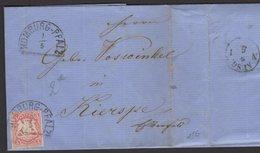 BAVIERE : Pli De HOMBURG De 1870 Avec 3 Keuzer Rouge Oblt HOMBURG-PFALZ Pour KIERSPE - Bavière