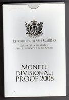 San Marino 2008 Monete Divisionali Proof Fondo Specchio - Saint-Marin