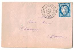 """1874 - CAD """" GARE DE CHAUMONT EN BAS. """" (BASSIGNY) + GC 978 Sur LETTRE LSC AFFRANCHIE CERES 60 Pour CHAUMONT - Marcophilie (Lettres)"""