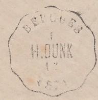 LETTRE. CONVOYEUR STATION BERGUES NORD. LIGNE 206 DUNKERQUE-HAZEBROUCK. GRANDE DECHIRURE DIAGONALE. Iind. 14 - Marcophilie (Lettres)