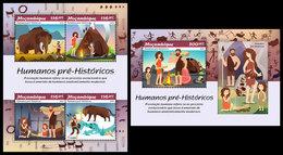 MOZAMBIQUE 2019 - Prehistoric Humans. M/S + S/S. Official Issue - Stripsverhalen