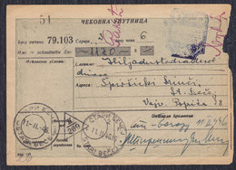 Yugoslavia 1946 Check Order Of Novi Sad Postal Office Savings Bank Franked With Porto Stamps - 1945-1992 Socialist Federal Republic Of Yugoslavia
