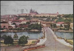 CECOSLOVACCHIA - PRAGA VEDUTA DEL CASTELLO - TRAM - VIAGGIATA1960 FRANCOBOLLO ASPORTATO - Repubblica Ceca