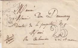 LETTRE. 1851. SEINE-ET-MARNE. CURSIVE 73/Quincy-Segy POUR MARAIS PRES COULOMMIERS. TAXE TAMPON 25 - Marcophilie (Lettres)
