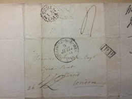 FRANCE 1833 Entire Boulogne To London With Dotted Circle Receiving Mark And P.P. Cachet - Postmark Collection (Covers)