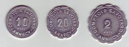 Monnaie De Nécessité - 74 - Annecy - Comptoir Savoyard - Lot De 3 Monnaies 10c. 20c. 2F - - Monétaires / De Nécessité