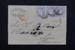 ESPAGNE - Lettre De Granada Pour La France En 1870 , Affranchissement Plaisant En Bande De 3 - L 23046 - Cartas
