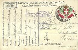 """2641 """" FRANCHIGIA DEL 1918 - VERIFICATO PER CENSURA.CARTIGLIO IN ALTO A SINISTRA """" CART. POSTALE ORIGINALE SPEDITA - 1900-44 Victor Emmanuel III"""