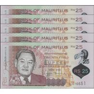 TWN - MAURITIUS 64 - 25 Rupees 2013 DEALERS LOT X 5 - Polymer - Prefix HJ UNC - Mauritius