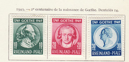 Allemagne Rhéno Palatin - Germany - Deutschland 1949 Y&T N°45 à 47 - Michel N°46 à 48 * - Naissance De Goethe - French Zone
