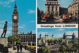 GRETINGS FROM LONDON - VIAGGIATA1962 FRANCOBOLLO ASPORTATO - Saluti Da.../ Gruss Aus...