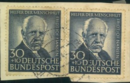1953, 30 Pfg. Helfer Der Menschheit 2-mal Auf Briefstück - Michel-Nr. 176 - BRD