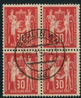 1949, 30 Pfg. Postgewerkschaft Im Zentrisch Gestempelten Viererblock - DDR