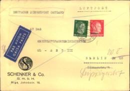 1942, 17 Pfg. Luftpostfrankatur Auf Firmenbrief Ab RIGA An Das Reichsluftfahrtministerium - Besetzungen 1938-45