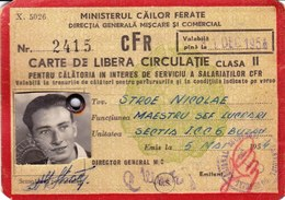 Romania, 1954, Romanian Railways CFR Identity Card - Free Permit, 2nd Class - Titres De Transport