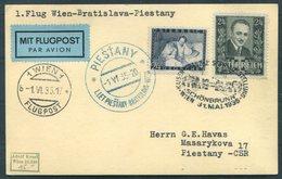 1935 Austria First Flight Postcard Wien - Bratislava - Piestany - Airmail