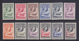 Bechuanaland Protettorato 1954-58 Elisabetta II  Serie Cpl. 12 Val.Yv. 93-104 MNH /  MLH **/* - 1885-1964 Bechuanaland Protettorato