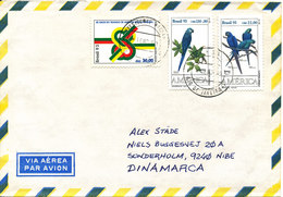 Brazil Air Mail Cover Sent To Denmark Rio De Janairo 16-11-1993 Topic Stamps - Airmail