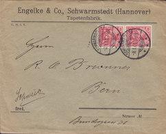 Germany Deutsches Reich ENGELKE & Co. Tapetenfabrik, SCHWARMSTEDT (Hannover) 1901 Cover Brief BERN Switzerland Germania - Deutschland