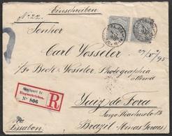 1895 Württemberg - Einschreiben Nach Juiz De Fora, Brasilien - Via Lisabon - Mit Inhalt - Wurttemberg