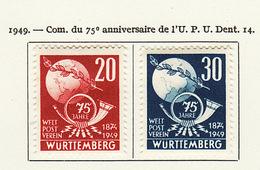 Allemagne Wurtemberg - Germany - Deutschland 1949 Y&T N°51 à 52 - Michel N°51 à 52 * - UPU - French Zone