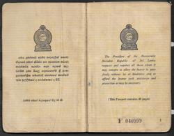 SRI LANKA  USED EXPIRED PASSPORT SYRIA VISA STAMPS ON PASSPORT - Sri Lanka (Ceylon) (1948-...)