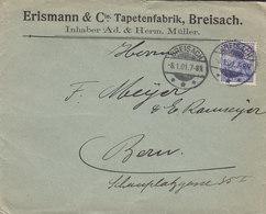 Germany Deutsches Reich ERISMANN & Cie Tapetenfabrik, BREITENSACH 1901 Cover Brief BERN Switzerland 20 Pf. Germania - Deutschland