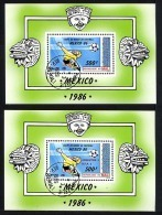 MALI 1986, COUPE MONDE FOOTBALL MEXICO, NORMAL + SURCHARGE VAINQUEURS, 2 Blocs, Oblitérés / Used. R127/8 - Coupe Du Monde