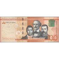 TWN - DOMINICAN REPUBLIC 190d - 100 Pesos Dominicanos 2017 (2018) Prefix KM - Signatures: Albizu & Guerrero UNC - Dominicaine